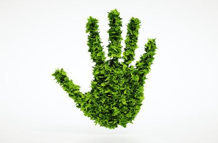 Isolated 3d render leaf hand symbol with white background Standard-Bild