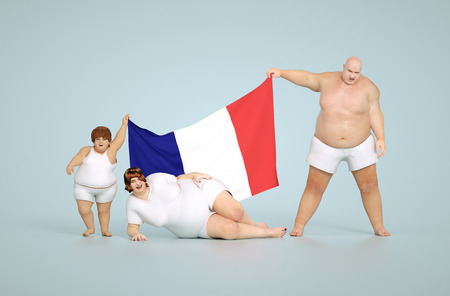 obesity kids: 3d render France obesity concept - fat family with flag