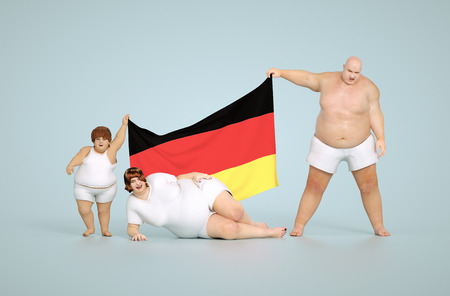 overeating: 3d render German obesity concept - fat family with flag Stock Photo