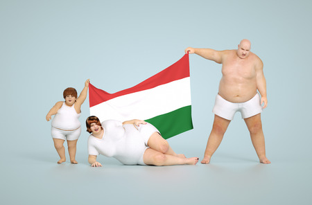 fatty: 3d render Hungarian obesity concept - fat family with flag