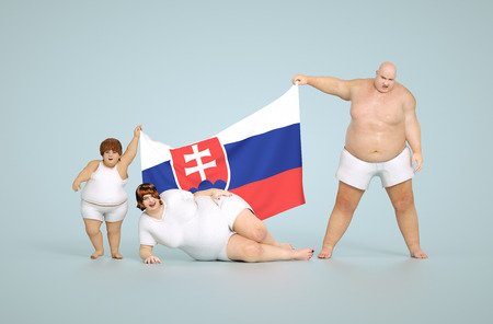 slovakian: 3d render Slovakia obesity concept - fat family with flag