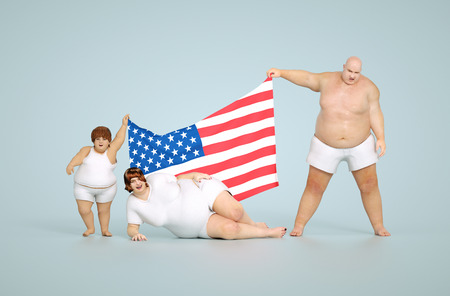 obesity kids: 3d render United states obesity concept - fat family with flag