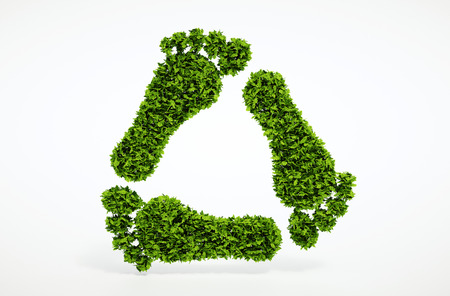 Isolated 3d render ecology leaf footprint recycling symbol with white background