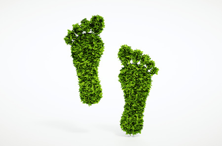 green footprint: Isolated 3d render ecological footprint symbol with white background