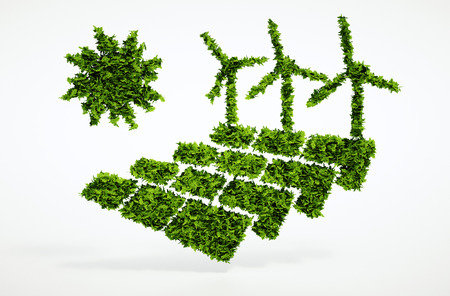 Isolated 3d render ecology sustainable energy concept with white background Standard-Bild