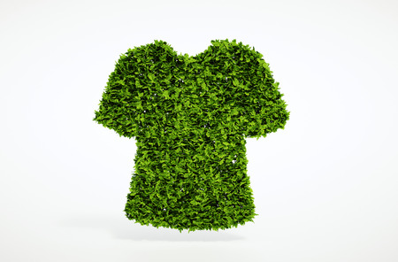 green clothes: Isolated 3d render ecology clothes concept with white background