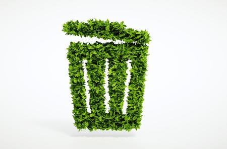 孤立した 3 d レンダリング生態ごみ箱] 白い背景とコンセプト