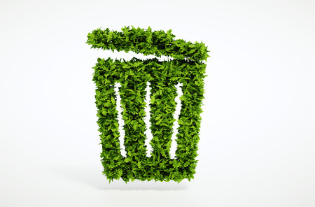 Isolated 3d render ecology trash can concept with white background Foto de archivo