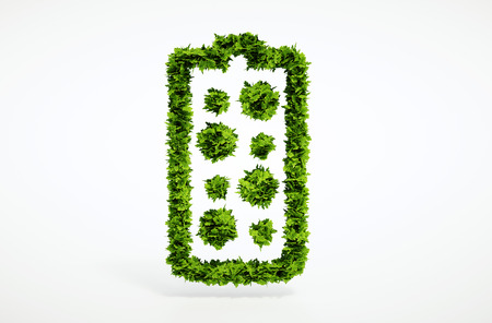 CO2 emissions: Isolated 3d render alternative new battery concept with white background
