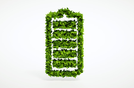 Isolated 3d render alternative ecology battery concept with white background