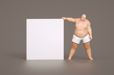 epidemic: Fat man with empty sign - for your own text