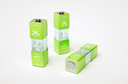 3d render concept of hydrogen fuel cell battery