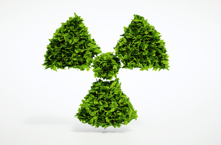 CO2 emissions: Isolated 3d render alternative ecology nuclear concept with white background Stock Photo