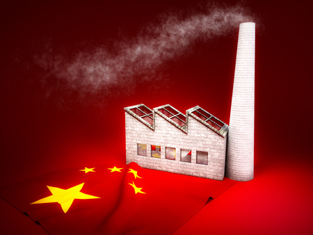 CO2 emissions: Concept of chinese industry development Stock Photo