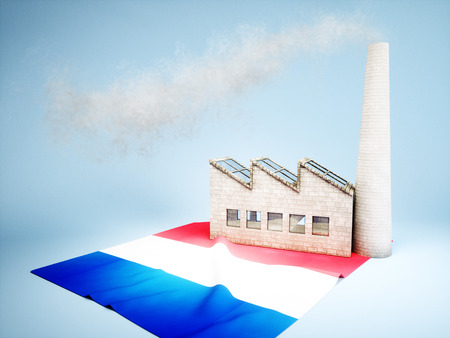 CO2 emissions: Concept of France industry development Stock Photo