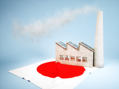 greenhouse gas: Concept of Japanese industry development Stock Photo