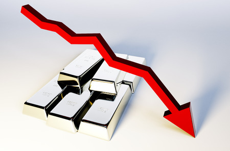 decline in values: 3d render image of silver bars with declining graph Stock Photo