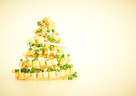 horozontal: 3d xmas gift christmas tree spiral shape concept. A4 horozontal poster template  - with blank text field for your own message