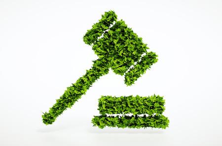 Isoliert 3d render eco Gerichtssymbol weißen Hintergrund.
