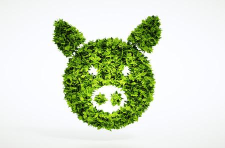 3d bio pork sign. One of larger set of high quality ecology symbols. Check my ecology set. 免版税图像
