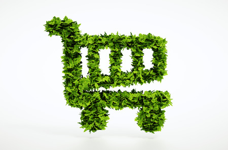 Isolated 3d render eco shopping cart sign with white background 免版税图像