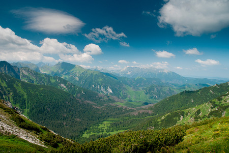 downgrade: View into a valley in Tatra mountines Stock Photo