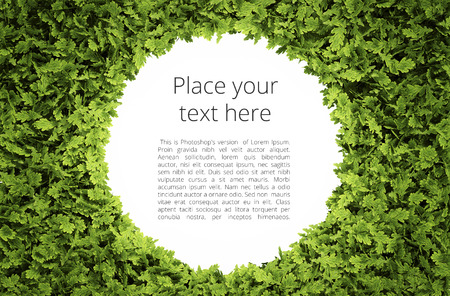 Eco circular text frame with simple text pattern - clipping path of green leaf shape included