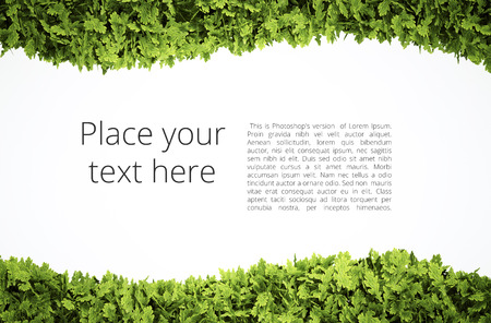 Eco text frame with simple text pattern - clipping path of green leaf shape included