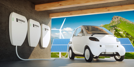 solar power plant: Home wall battery concept Stock Photo
