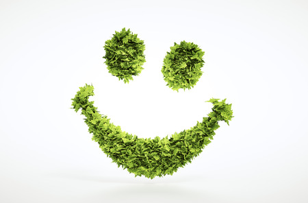 Ecology 3d render smile face sign with included clipping path in jpg file