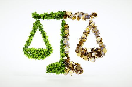 Concept de l'équilibre entre l'écologie et des affaires Banque d'images - 48368669