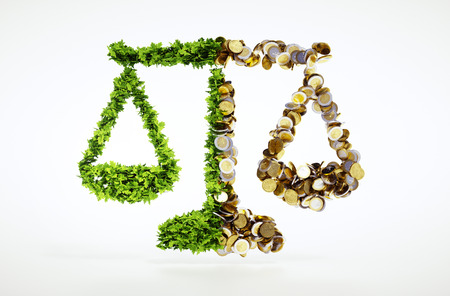 Concept of balance between ecology and business