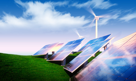 Renewable energy concept - photovoltaic with wind turbines in fresh nature