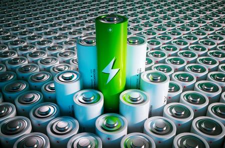 Green battery concept - 3d render image 免版税图像