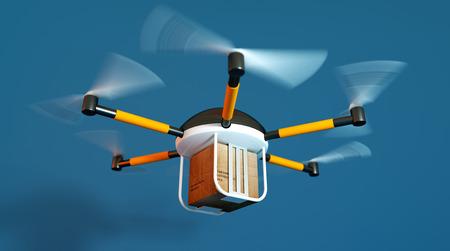 package sending: Drone delivery concept - 3d render illustration