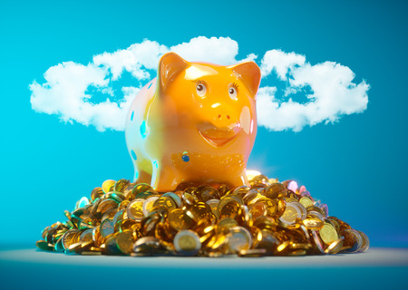 piggy bank: Piggy bank with stock of money and clouds in halo shape in background Stock Photo