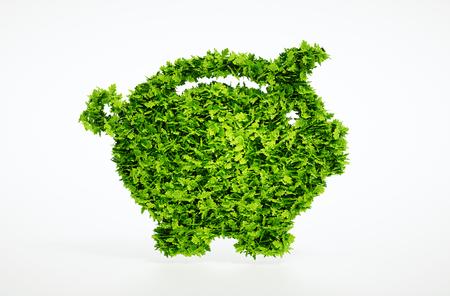 Eco spaarpot concept met het knippen van weg
