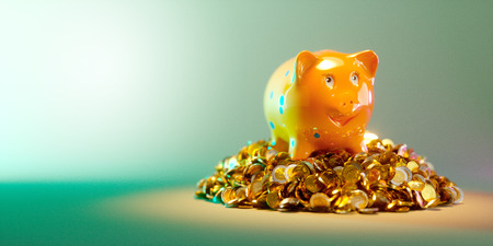 ensuring: Piggy bank with large stack of money - clipping path included