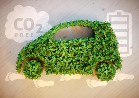 sustentabilidad: Coche del concepto de la ecolog�a