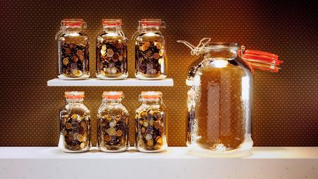 収益の大成功を期待 - お金で満たされた瓶