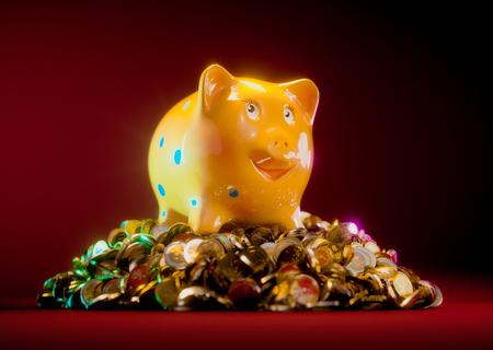 rich: Happy rich piggy bank Stock Photo
