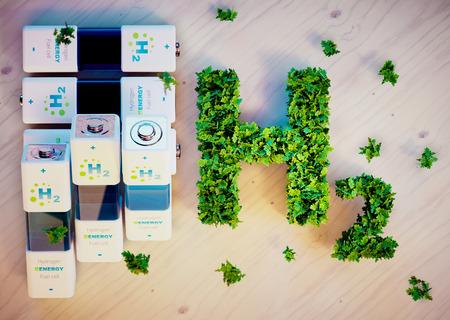 水素エネルギーの概念。3 D コンピューター生成イメージです。