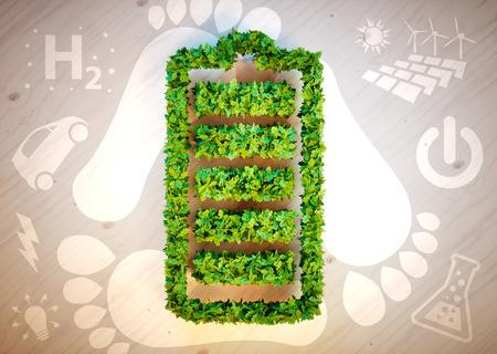 持続可能なエネルギー コンセプト。3 D コンピューター生成イメージです。