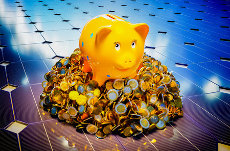 clean energy: Piggy bank with photovoltaic. 3D computer generated image. Stock Photo