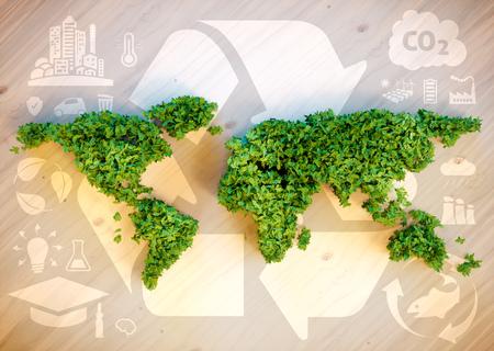 지속 가능한 세계 개념. 3D 컴퓨터 이미지를 생성합니다.