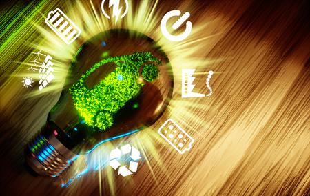 hidrógeno: transporte respetuoso del medio ambiente. imagen generada por ordenador en 3D.