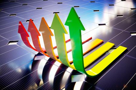 autonomia: ahorro fotovoltaicos. imagen generada por ordenador en 3D.