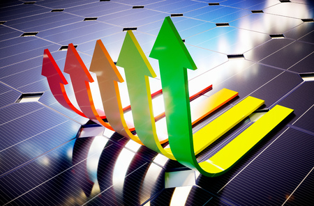autonomy: Photovoltaic savings. 3D computer generated image.