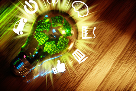 Concept  of green technology recycle sign in light bulbl. 3D rendering.