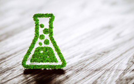 natural science: Green chemistry industry sign on black wooden background. 3D rendering.